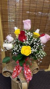Dozen Mixed Colors of Roses