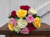 Dozen  Mixed Roses Hand Tied