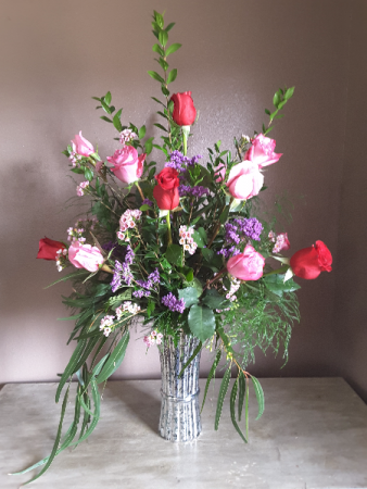Dozen mixed roses Vase arrangement