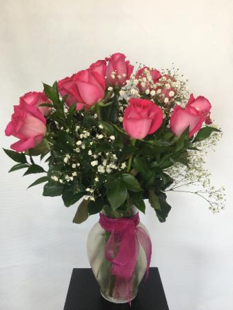 Dozen Orange or Pink Roses Arrangement
