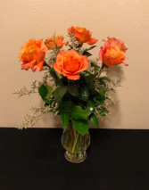 Half Dozen Orange Rose Arrangement