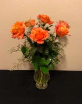 Half Dozen Orange Rose Arrangement