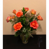 Dozen Orange Rose Arrangement