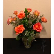 Dozen Orange Rose Arrangement