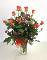 Dozen Orange Roses  Call for availability