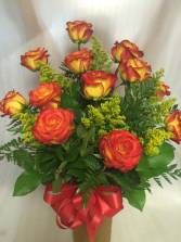 Dozen Orange Roses  Arranged in Vase