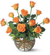 Dozen Orange Roses floral arrangement