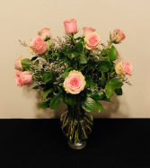 Dozen Pink Rose Arrangement