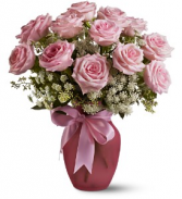 Dozen Pink Roses and Lace Vase