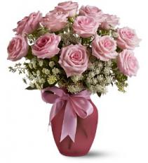 Dozen Pink Roses and Lace Vase