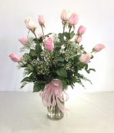 Dozen Pink Roses Arranged Call for availability