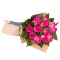 Dozen Pink Roses Hand Tied Bouquet