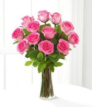DOZEN PINK ROSES Vase Arrangement in Longview, TX   ANN'S PETALS