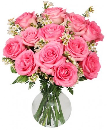 Sweet and Unique Roses Dozen pink roses arranged in a vase