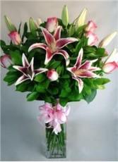 Dozen Pink Roses With StarGazer Lilies