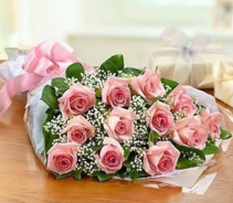 Dozen Pink Roses Bouquet Wrapped