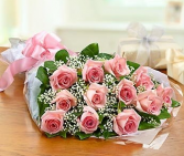 Dozen Pink Roses Wrapped Presentation Style Graduation