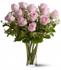 Dozen Pink zroses Vase Arrangement
