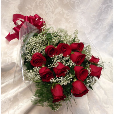 DOZEN PREMIUM RED ROSES WRAPPED BOUQUET