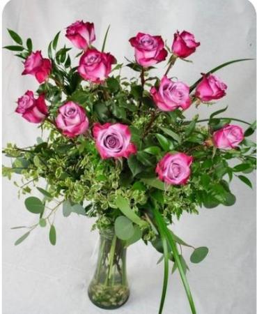 Dozen Purple Roses Rose Vase