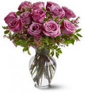 Dozen Purple/Pink Rose Vase