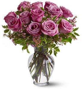 Dozen Purple/Pink Rose Vase