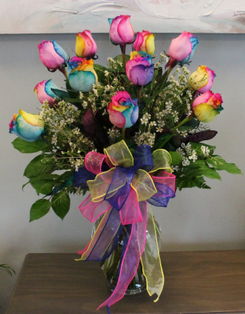Dozen Rainbow Roses Local Delivery Only In Edison Nj