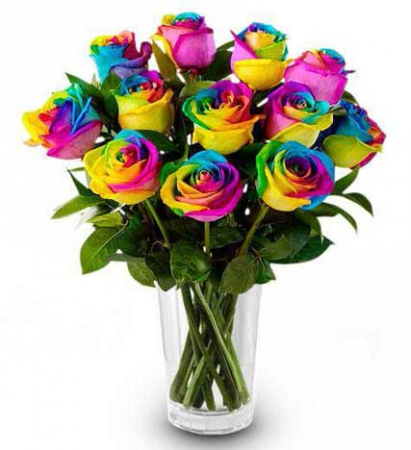 Dozen Rainbow Roses Rose