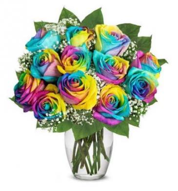 Dozen Rainbow Roses Rose Vase
