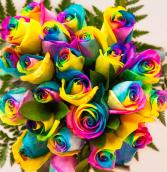 Dozen Rainbow Roses Valentines Day