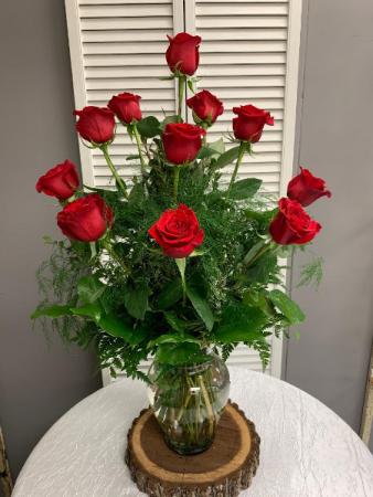 Dozen Red Rose Arrangement Tall Vase Arrangement