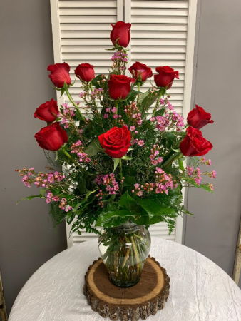 Dozen Red Rose Arrangement with Filler Tall Vase Arrangement