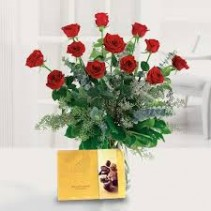 Dozen Red Rose & Large Chocolate SPECIAL