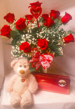 """LIGHT OF MY LIFE"" DOZEN RED ROSES ARRANGED WITH   WITH BABY'S BREATH, MEDIUM TAN BEAR AND BOX OF CHOCOLATES! ALL IN ONE!"