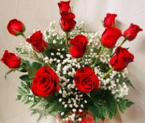 Dozen Red Roses arranged in a vase with baby's breath.