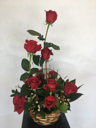 Dozen Red Roses Basket Arrangement