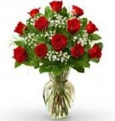 Dozen Red Roses Bouquet Vase