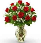 Dozen Red Roses Bouquet Vase