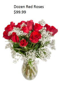 DOZEN RED ROSES CENTERPEICE