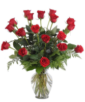Dozen Red Roses Flower Arrangement