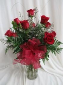 Dozen Red Roses Fresh Vased Rose Arrangement