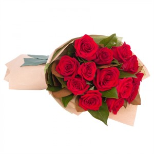 Dozen Red Roses Hand Tied Bouquet