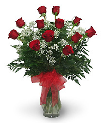 DOZEN RED ROSES  IN A VASE in Elyria, OH | PUFFER'S FLORAL SHOPPE, INC.