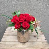 Dozen Red Roses in Mercury Glass