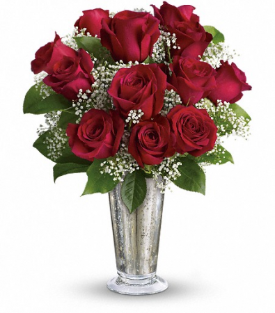 Dozen Red Roses in Mercury Glass
