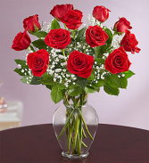 Dozen Red Roses in Vase or Colored Vase Arrangment