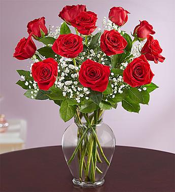 Dozen Red Roses in Vase or Colored Vase Arrangment