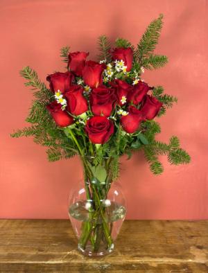 Dozen red roses Red Rose Arrangement in Hardwick, VT   THE FLOWER BASKET