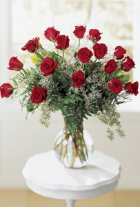 18 Red Roses Vase arrangement of beauty