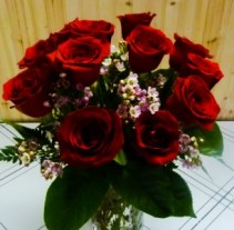 Dozen Red Roses  Vase Arrangement